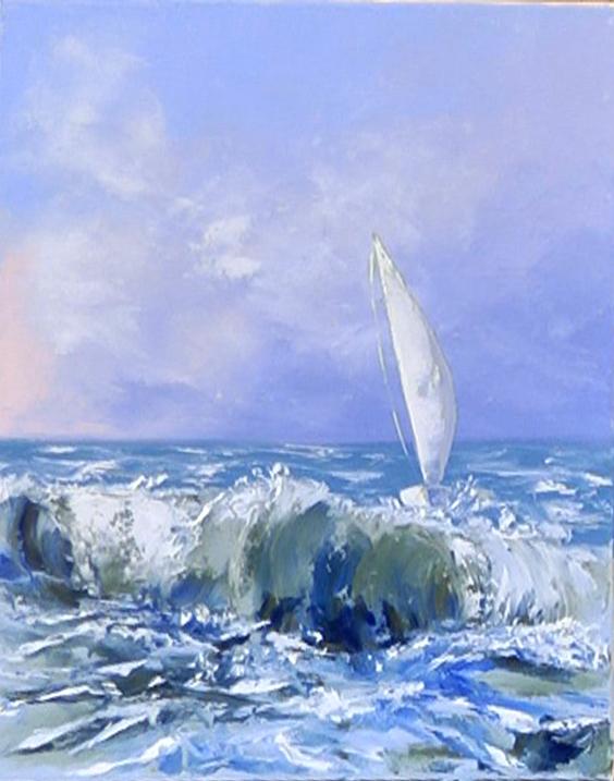 Dessin et peinture - vidéo 2764 : Le voilier au couteau 1 - acrylique et huile.